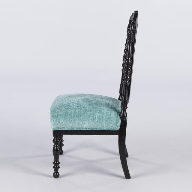 "Napoleon III Ebonized ""Chauffeuses"" Low Chairs - A Pair For Sale - Image 11 of 13"