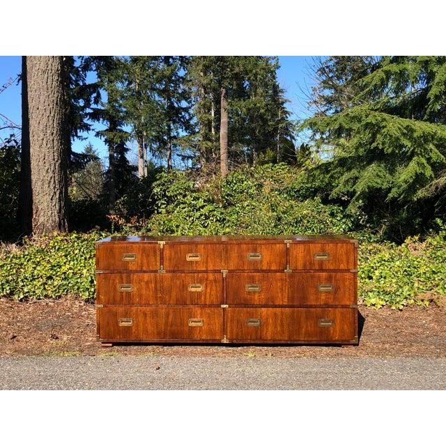 20th Century Campaign Henredon Triple Dresser For Sale - Image 13 of 13
