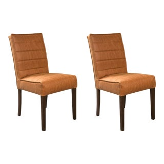 Hollywood Regency Style Leather Side Chair - A Pair