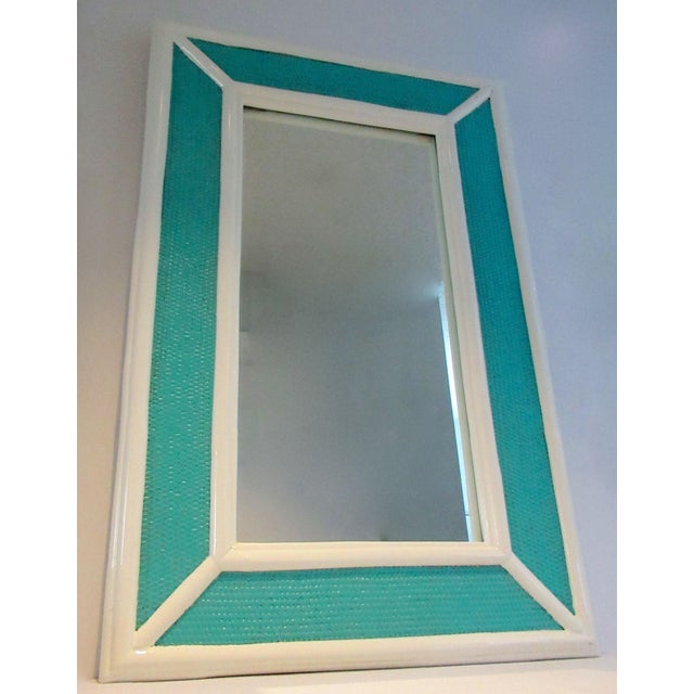 Vintage C.1960's Palm Beach Style Bamboo & Wicker 2-Tone High Gloss Lacquered Mirror For Sale In West Palm - Image 6 of 12