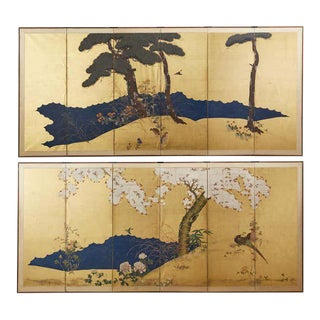 Pair of Japanese Meiji Six Panel Screens of Seasonal Landscapes For Sale