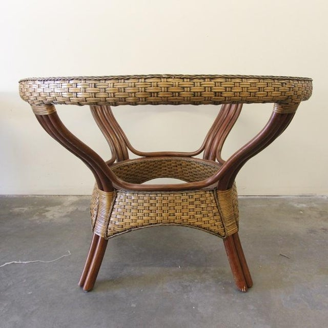 Wicker & Glass Top Dining Table - Image 2 of 8