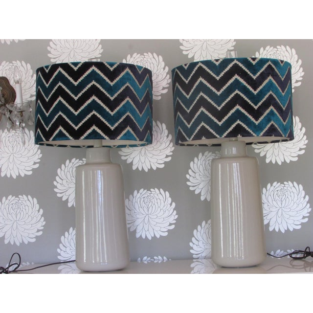 Arteriors White Porcelain Table Lamps with Chevron Shades- A Pair - Image 2 of 4