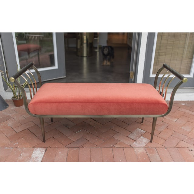 Dia Brass & Bronze Mohair Bench Design Institute - Image 3 of 5