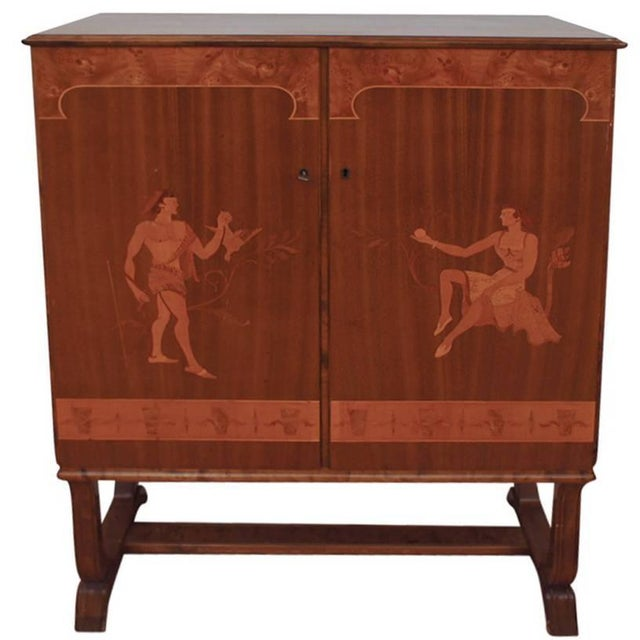 Wood Tempting Mjolby Intarsia Bar Cabinet From Sweden, Circa 1920s For Sale - Image 7 of 7