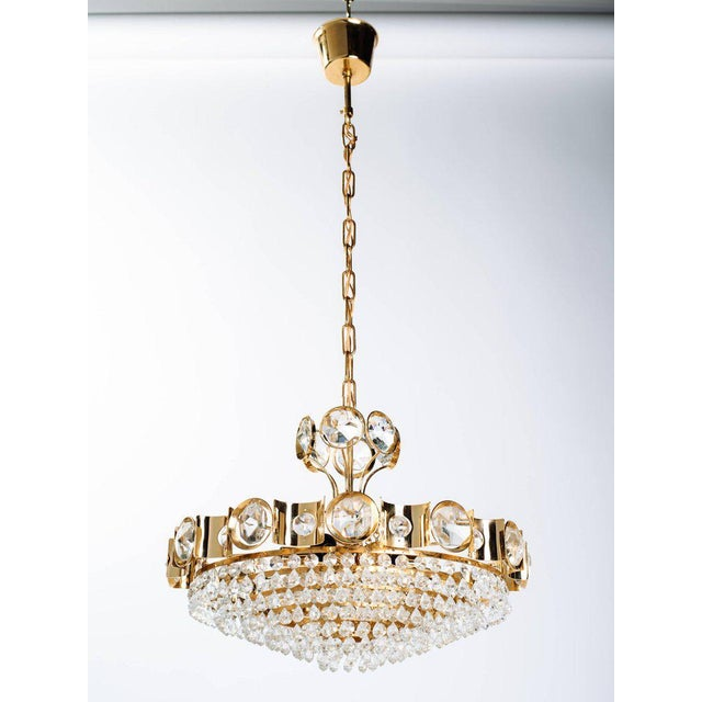 Art Deco Mid-Century Modern Jeweled Cut Crystal and Gold Chandelier by Lobmeyr For Sale - Image 3 of 10