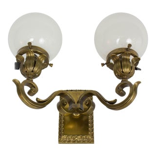 Pair of Restored Antique Early Electric Sconces With White Ball Shades For Sale