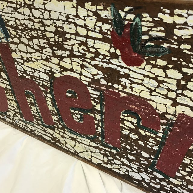 """Hand Painted """"Fresh Cherries Next Left"""" Sign by Folk Artist T. Toupe For Sale - Image 11 of 13"""