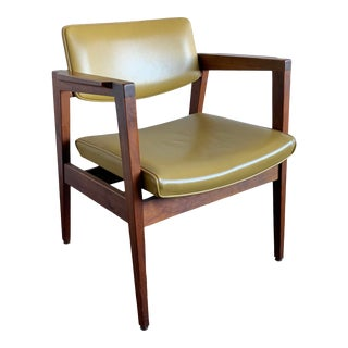 1970s Gunlocke Chair Co Floating Seat Walnut Arm Chair For Sale