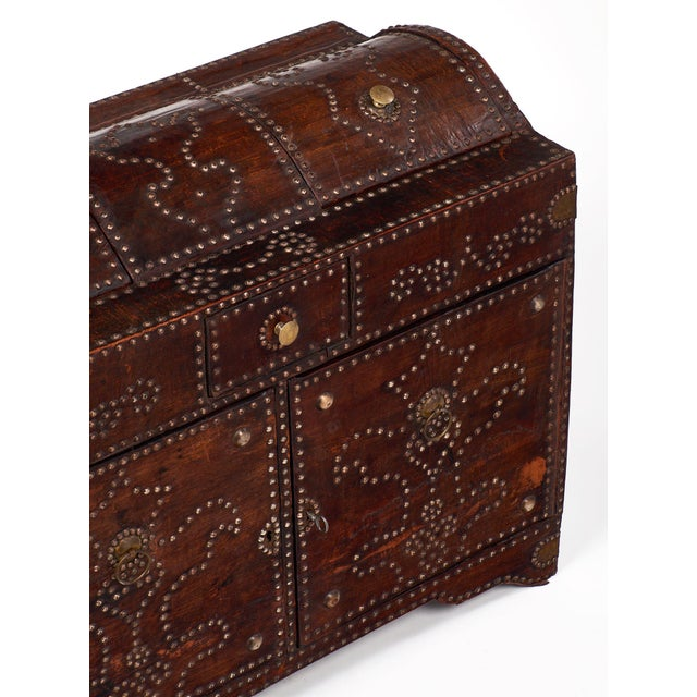 French Antique French Napoleon Style Leather and Brass Trunk/Bar For Sale - Image 3 of 11
