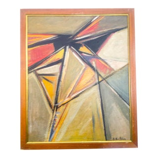 French Abstract Cubist Oil Painting For Sale