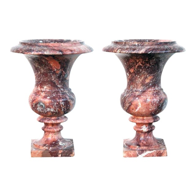 An Elegant Pair of French Campagna Urns of Opera-Fantastico Marble For Sale