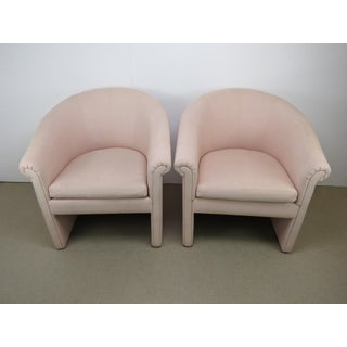 1960s Milo Baughman Style Muted Rose Pink Barrel Back Tub Chairs - a Pair Preview