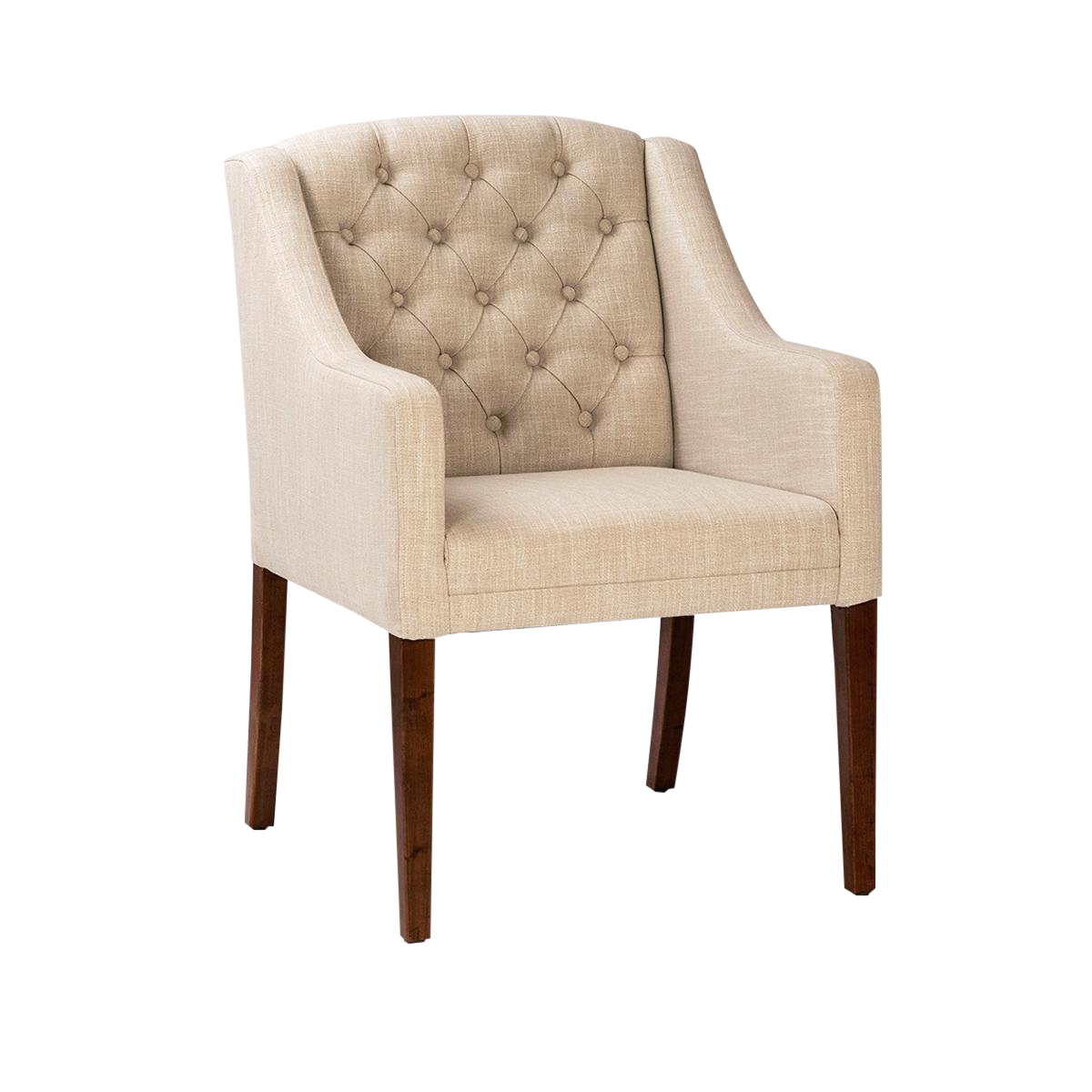Tufted Linen Low Back Dining Chair Chairish