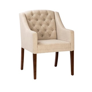 Tufted Linen Low Back Dining Chair For Sale