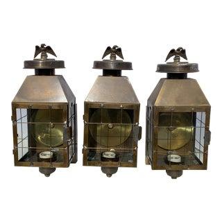 Vintage Traditional Brass Outdoor Lanterns - Set of 3 For Sale