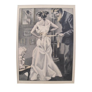 1900's Original Vintage French Boudoir \ Dressing Lithograph (Plate 1) For Sale