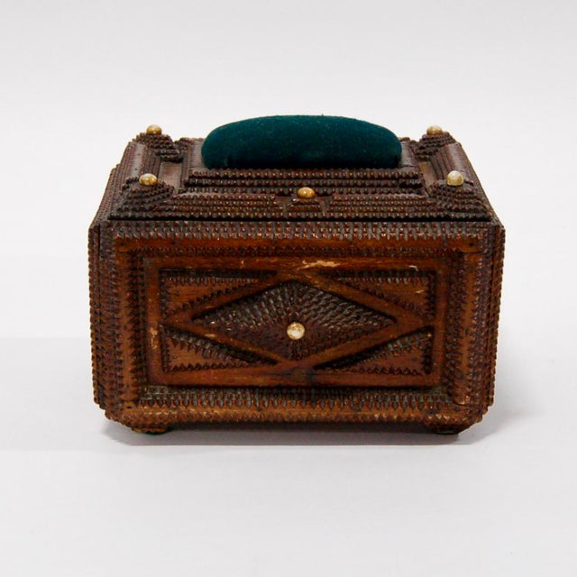 French Antique French Tramp Art Sewing Box with Raised Velvet Green Pin Cushion For Sale - Image 3 of 10