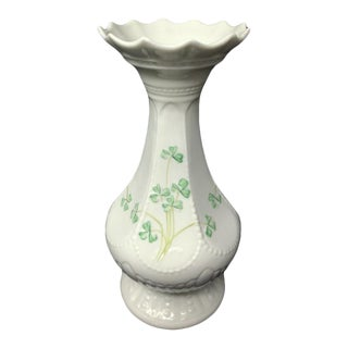 "1980s Belleek Island Vase - Archive Collection 2009 - Shamrocks - 8.5"" Tall For Sale"