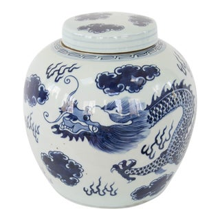 Chinoiserie Blue & White Dragon Ginger Jar For Sale