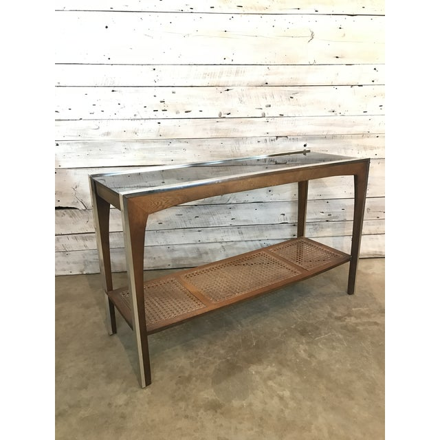 Mid-Century Walnut and Chrome Console Sofa Table For Sale - Image 11 of 11