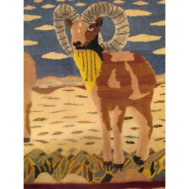 Vintage Mid-Century Ram Pictorial Rug - 2′2″ × 2′9″ For Sale - Image 4 of 5
