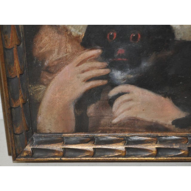 """Charming 19th Century """"Girl With Dog"""" Oil Painting For Sale In San Francisco - Image 6 of 9"""