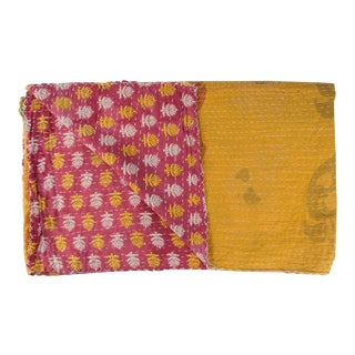 1970s Vintage Yellow Floral Kantha Quilt For Sale