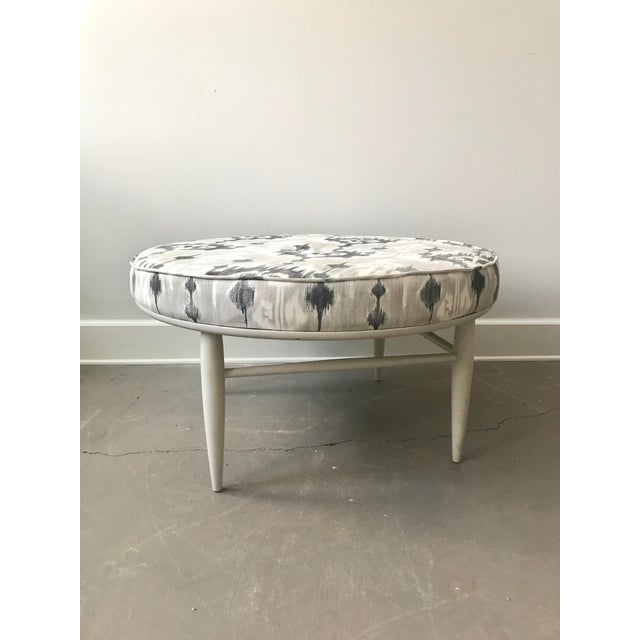 Contemporary Mid-Century Ikat Ottoman For Sale - Image 3 of 5