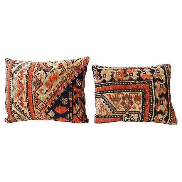 Ferahan Rug Fragment Pillows - Pair - Image 1 of 7