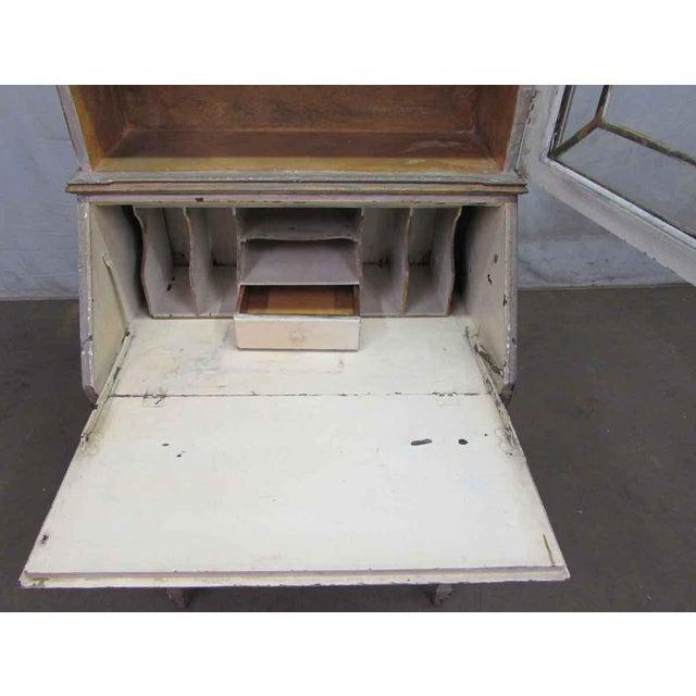 Gold Antique Secretary Desk & Cabinet Duo For Sale - Image 8 of 10