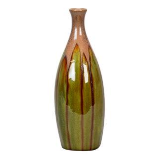 Brussels Slender Vase with Green Drip Glaze For Sale