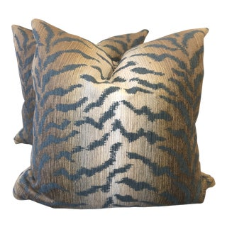 "Jade Tiger Chenille 22"" Pillows-A Pair For Sale"