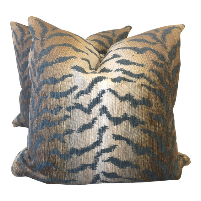 """Jade Tiger Chenille 22"""" Pillows-A Pair For Sale"""