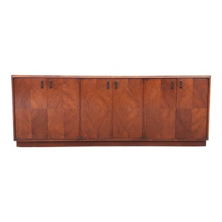 Mid-Century Modern Credenza Buffet With Parquet Wood Veneer For Sale