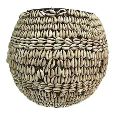 Nigerian Tribal Cowry Shell Basket For Sale