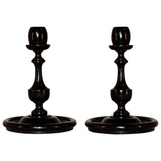 Victorian Turned Oak Candlesticks - a Pair For Sale