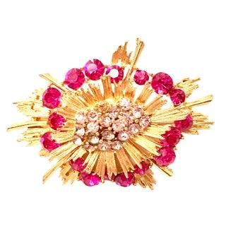 20th Century Gold & Austrian Crystal Starburst Brooch By, Lisner For Sale