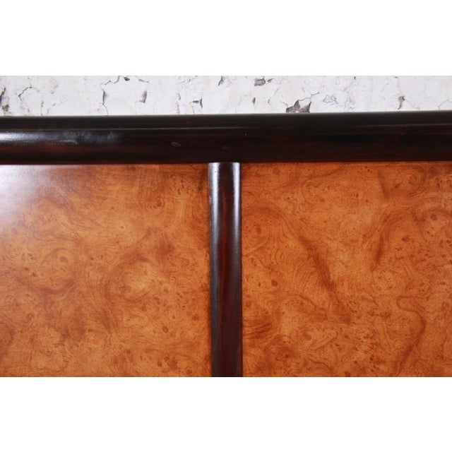 1960s Edward Wormley for Dunbar Burl Wood and Mahogany Queen Size Headboard, 1960s For Sale - Image 5 of 7
