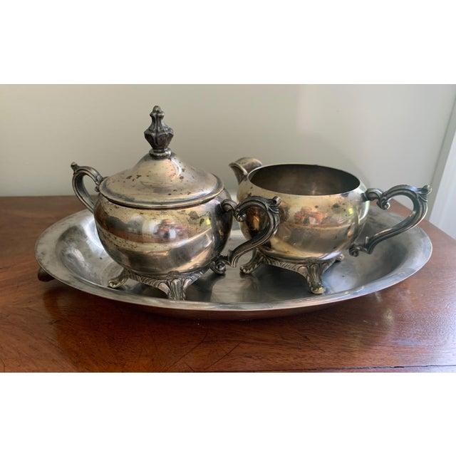 Antique Silver Cream & Sugar Set- 3 Pieces For Sale - Image 11 of 11