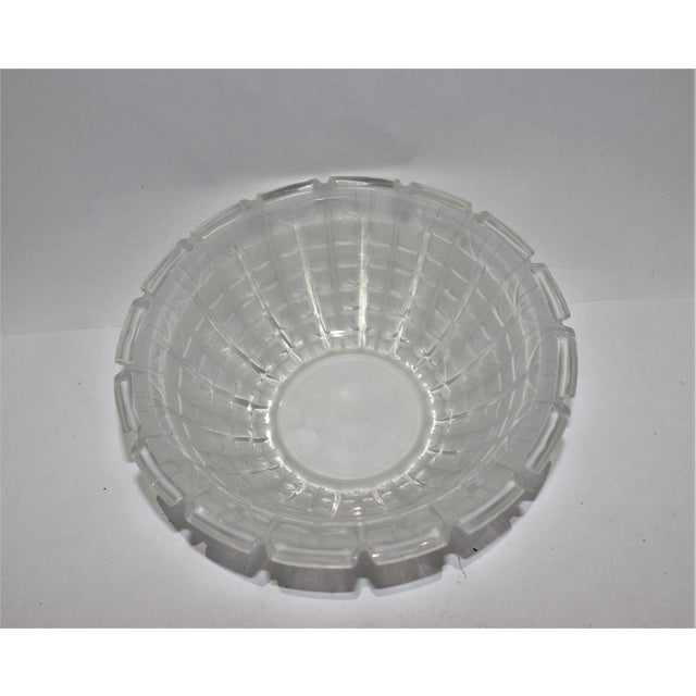 Glass R. Lalique 1928 Acacia Pattern Opalescent Art Deco Crystal Bowl For Sale - Image 7 of 12