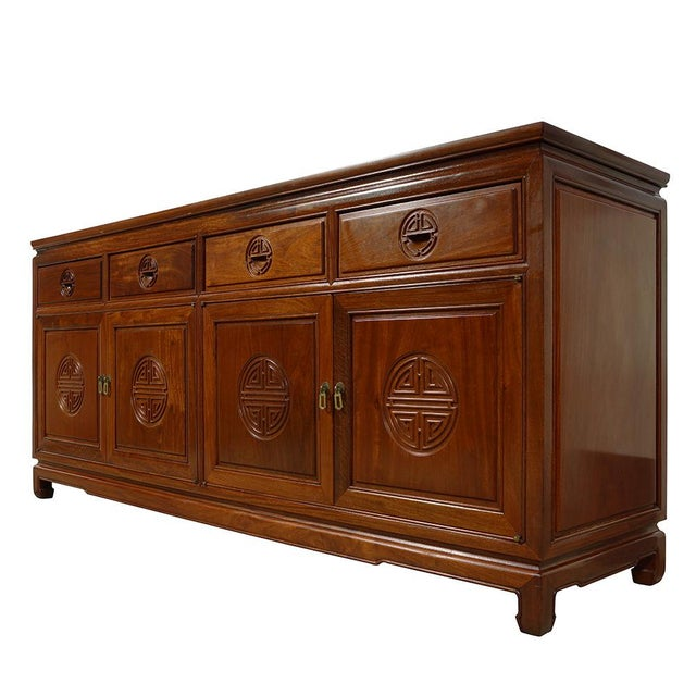 Look at this vintage Chinese rosewood sideboard buffet table. It was made of solid rosewood with beautiful carving works...