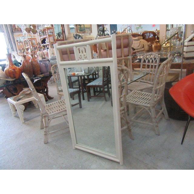 Vintage White Rattan Mirror - Image 4 of 5