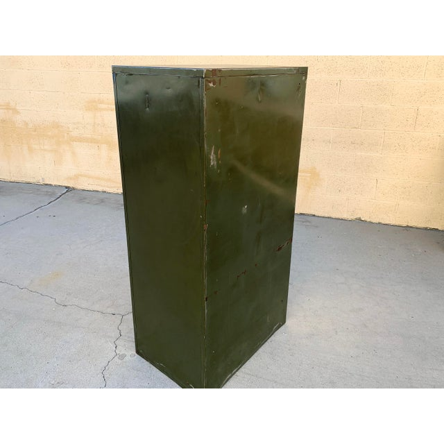 Metal 1940s Large File Cabinet With Brass Hardware by Steel Furniture Mfg. Co. For Sale - Image 7 of 8