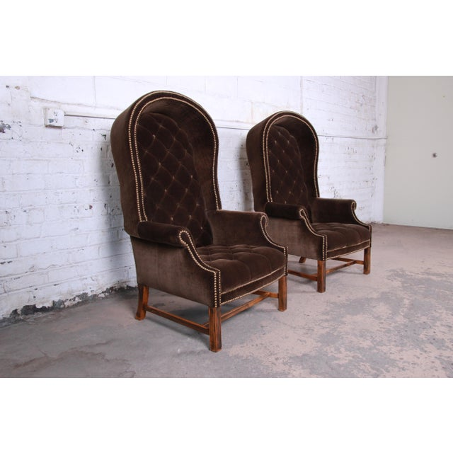 Midcentury Brown Velvet Porter's Chairs, Pair For Sale - Image 4 of 12