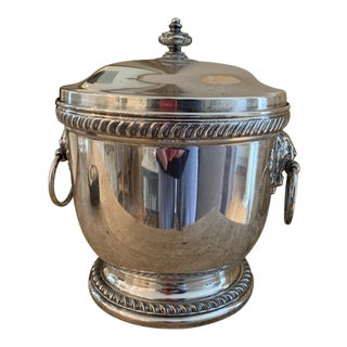 Vintage Gump's Silverplate Ice Bucket With Lion's Heads For Sale