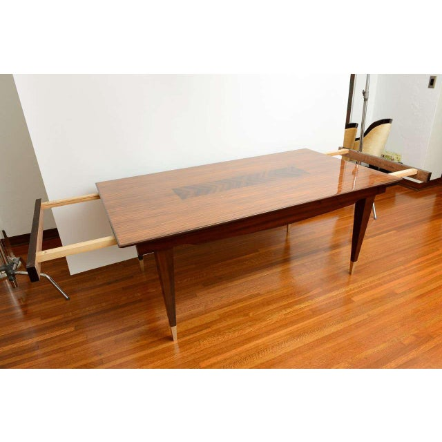 Metal Mid-Century Modern Dining Room Table Lacquered Extension Leaves For Sale - Image 7 of 12