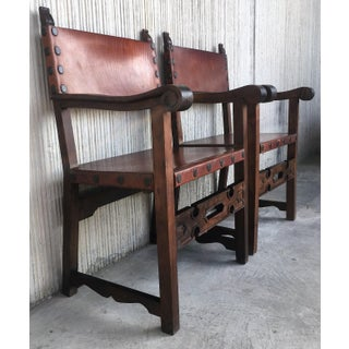 Pair of 19th Century Spanish Colonial Style Carved Armchairs With Leather Preview