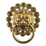 Image of Heavy Brass Foo Dog Ring Door Knocker For Sale