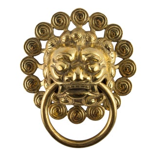 Heavy Brass Foo Dog Ring Door Knocker For Sale